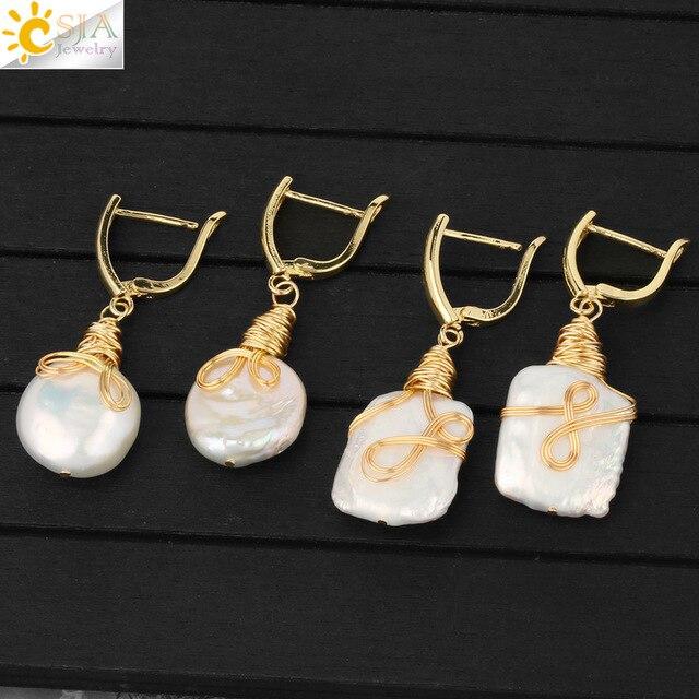 CSJA Freshwater Pearl Dangle Earrings Handmade Copper Wire Wrapped Freeform Drop Earring for Lady Charm Ear Jewelry Wedding G260