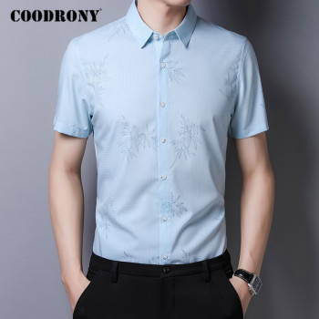 COODRONY Men Shirt Spring Summer Short Sleeve Business Casual Shirts Cotton Mens Clothes Fashion Pattern Camisa Masculina C6014S