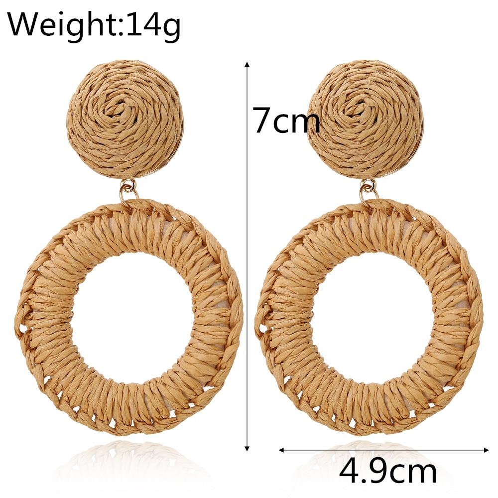 YAOLOGE 2019 Trendy Korean Handmade Wooden Rattan Knit Earrings For Women Boho Hollow Round Big Geometric Vine Drop Earring