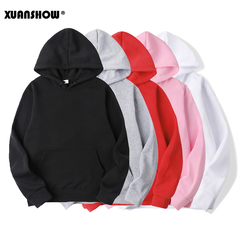 XUANSHOW New Casual BALCK WHITE RED PINK GRAY HOODIE Hip Hop Streetwear Spring Sweatshirts Skateboard Men/Woman Pullover Hoodies