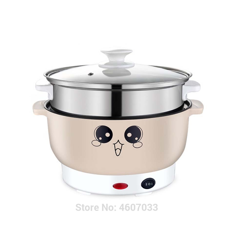 220V Multifunctional Electric Cooker Heating Pan Electric Cooking Pot Machine Hotpot Noodles Rice Eggs Soup Steamer Cooking Pot