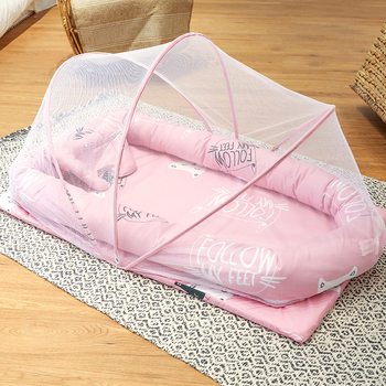Cotton Baby Bed with Mosquito Net Portable Bionic Bed Removable Bed Folding Mosquito Net Bed