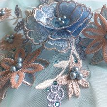 Color 3D flower bead rhinestone mesh gauze embroidery fabric lace dress cloth patch  clothes repair wedding