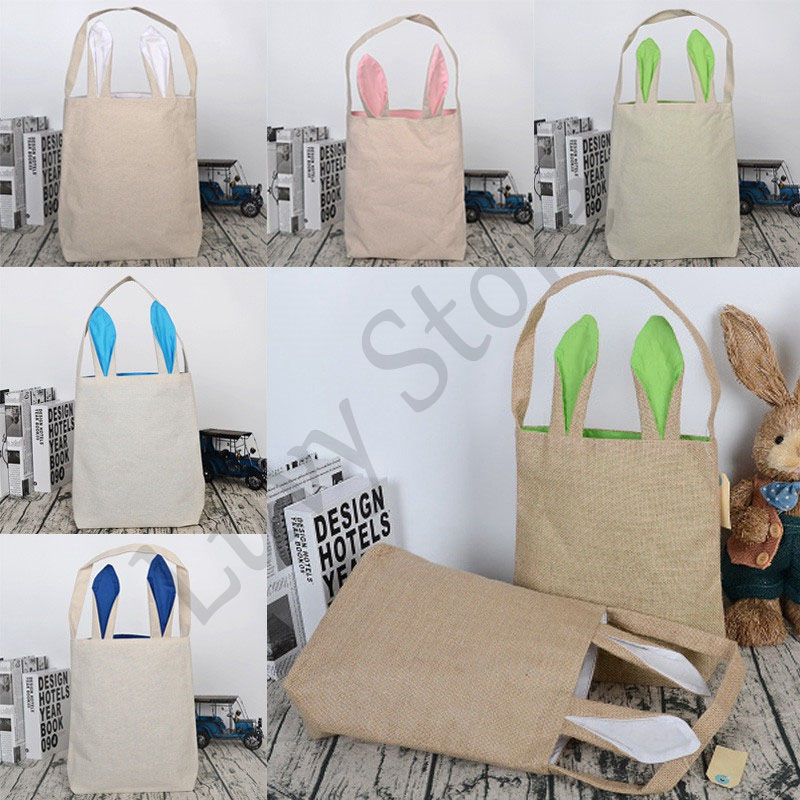 Luvy Burlap Easter Rabbit Basket 18 Colors Cute Bunny Ears Tote Bag Easter Egg Bags For Kids Gift Decoration Easter Party