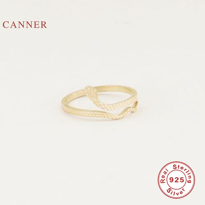 CANNER Serpentine Opening Ring 100% 925 Sterling Silver Anillos Gold Rings For Women Luxury Fine Jewelry Wedding Rings Bijoux