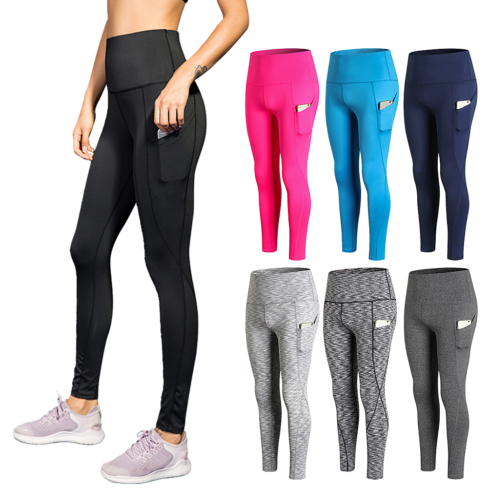 Woman High Waist Yoga Pants Quick-dry Sports Pants Yoga Leggings Workout Pants with Pocket Light Blue XXL Running pants 8
