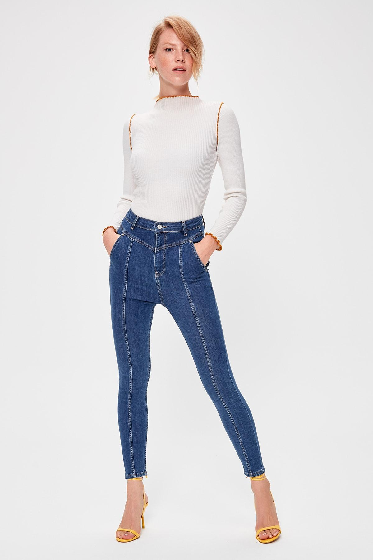 Trendyol Blue Stitch Detail High Waist Skinny Jeans TWOAW20JE0157