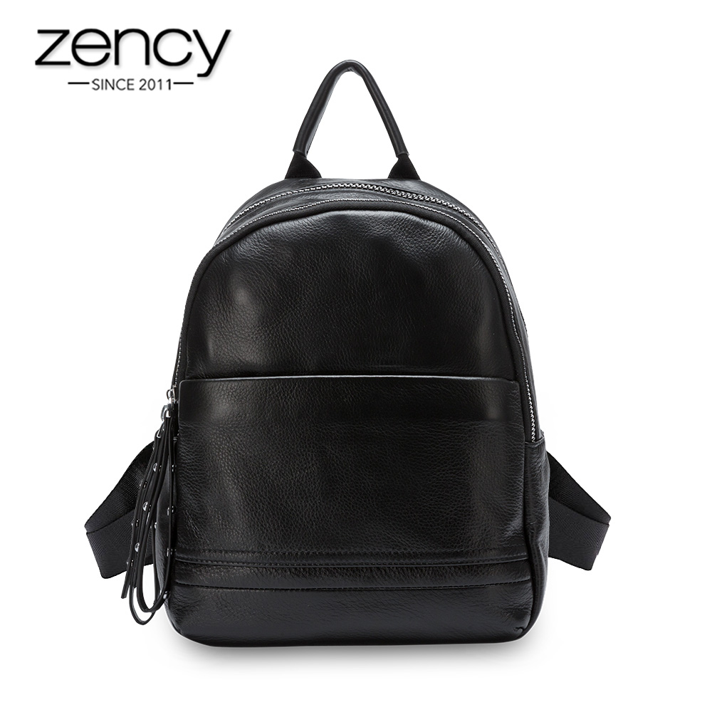 Zency Daily Casual Women Backpack 100% Genuine Leather Beach Rucksack Preppy Style Schoolbag Lady Travel Bag Black Grey