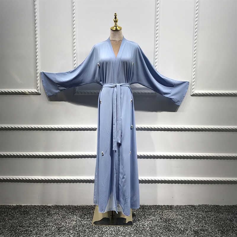 פתוח קימונו העבאיה טורקית האיסלאם ארוך שרוול פניני חיג 'אב מוסלמית Abayas לנשים חלוק קפטן דובאי קפטן אסלאמי בגדים