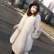 Long Womens Vest Faux Fox Fur Coat 2020 Autumn Winter Fluffy Jacket Vests of Women Waistcoat Chalecos Para Mujer KJ972(China)