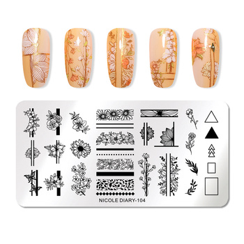 NICOLE DIARY Stainless Steel Nail Stamping Plates Flowers Nail Art DIY Nail Image Plate Stencil Accessories Tool 1