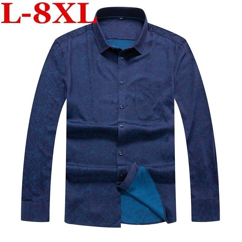 Plus Size 8XL 7XL New Autumn  Fashion Brand Men Clothes Slim Fit Men Long  Sleeve Shirt Men Print Cotton Casual Men Shirt Social