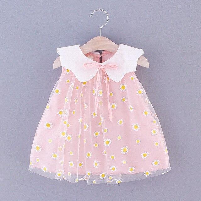 Nouveau enfants robe 2020 été bébé filles doux Daisy maille revers plaine sans manches princesse robe enfants vêtements enfants