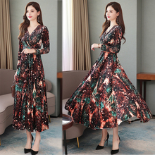 Autumn New Slim High Waist V Neck Long Sleeved Velvet Dress Printing Formal Women Elegant Clothes Brown Purple Red