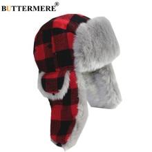 BUTTERMERE Winter Hats for Men Women Red Plaid Trapper Hat Earflap Cashmere Warm Thick Hunter Snow Ski Brand Fur Russian Cap