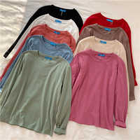 9 Einfarbig Langarm Weiß T Shirt Frauen Harajuku Vintage Lose Grundlegende T-shirt Korean Stil Streetwear T-shirt Herbst Winter
