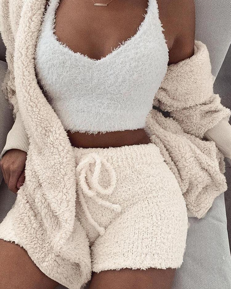 2019 Autumn Women Elegant Sexy Suit Sets Female Winter Basic Coat Short Sets Fluffy Hooded Open Front Teddy Coat & Short Sets