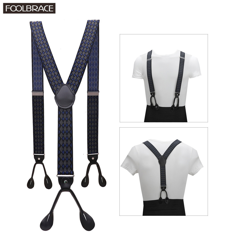 "1.38"" Width Adult Button Suspenders Black Real Leather Suspenders Y-back Shape Man Ligas Tirantes Stretch Hangeband 3.5*120cm"