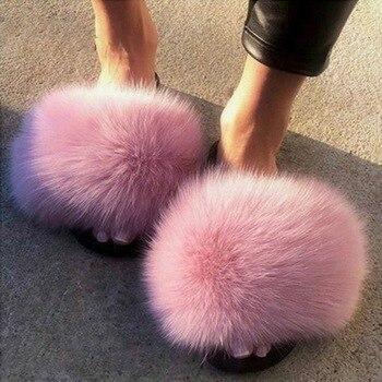 2020 женские меховые тапочки; Женская обувь; Милые Плюшевые Пушистые сандалии с лисьим мехом; Женские меховые тапочки; Зимние теплые тапочки д...