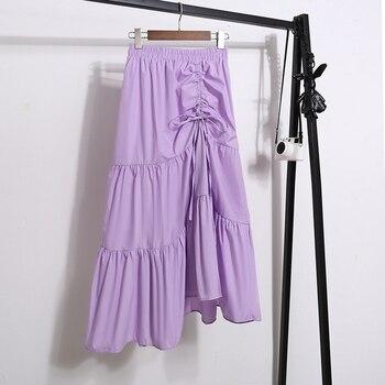 Women new fashion design irregular pleated chiffon skirt women summer stitching high waist thin long skirt ladies casual skirt box pleated chiffon skirt