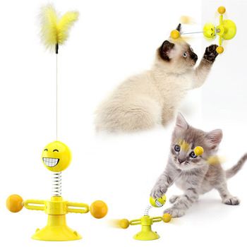 Cats Elastic Feathers Stick Rotating 5