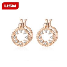 925 Sterling Silver Fashion Brincos CZ Crystal Round Stud Earrings For Women Jewelry Double Circle Earrings Small Pendientes