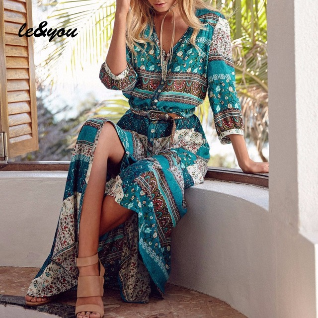 Women's dress Summer Vintage sexy bohemian Oversized fashion long sleeve robe 1