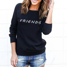 купить Womens Letters FRIENDS Print Long Sleeve Hoodie Sweatshirt Ladies Slouch Pullover Jumper Tops 5 Colors S M L XL Brand New 2019 по цене 203.21 рублей