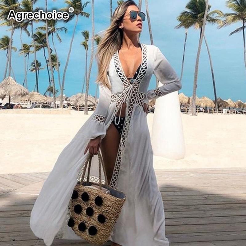 2019 Sexy Hollow Out Beach Cover Up Cotton Sexy Bikini Swimsuit Cover Ups Long Beach Dress Tunics Crochet Long Sleeve Beachwear