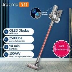 Dreame V11 el kablosuz elektrikli süpürge OLED ekran taşınabilir akülü 25kPa hepsi bir arada toz toplayıcı zemin halısı temizleyici