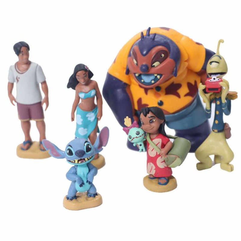 6pcs/set Cartoon Lilo and Stitch PVC Action Figure Toys Collectible Model For Children Gift