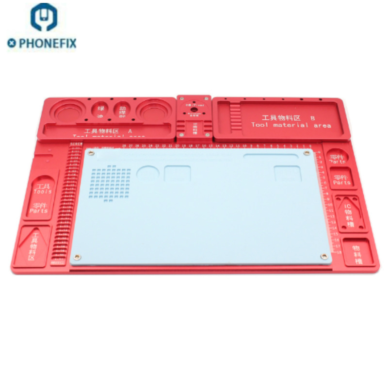 47cm*32cm Multifunctional Aluminum Alloy Base Microscope Fixed Base Integrated Aluminum Alloy Mat Mobile Phone PCB Repair Pad