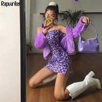 Rapescritor elegante Delgado espagueti Correa púrpura leopardo Vestido mujer 2019 verano básico sin mangas Mini vestido sexi Vestidos mujer