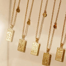 HIYONG Gothic 12 Constellation Necklace Stainless Steel Square Pendant Necklace Gold Color Card Chain Necklaces Vintage Jewelry