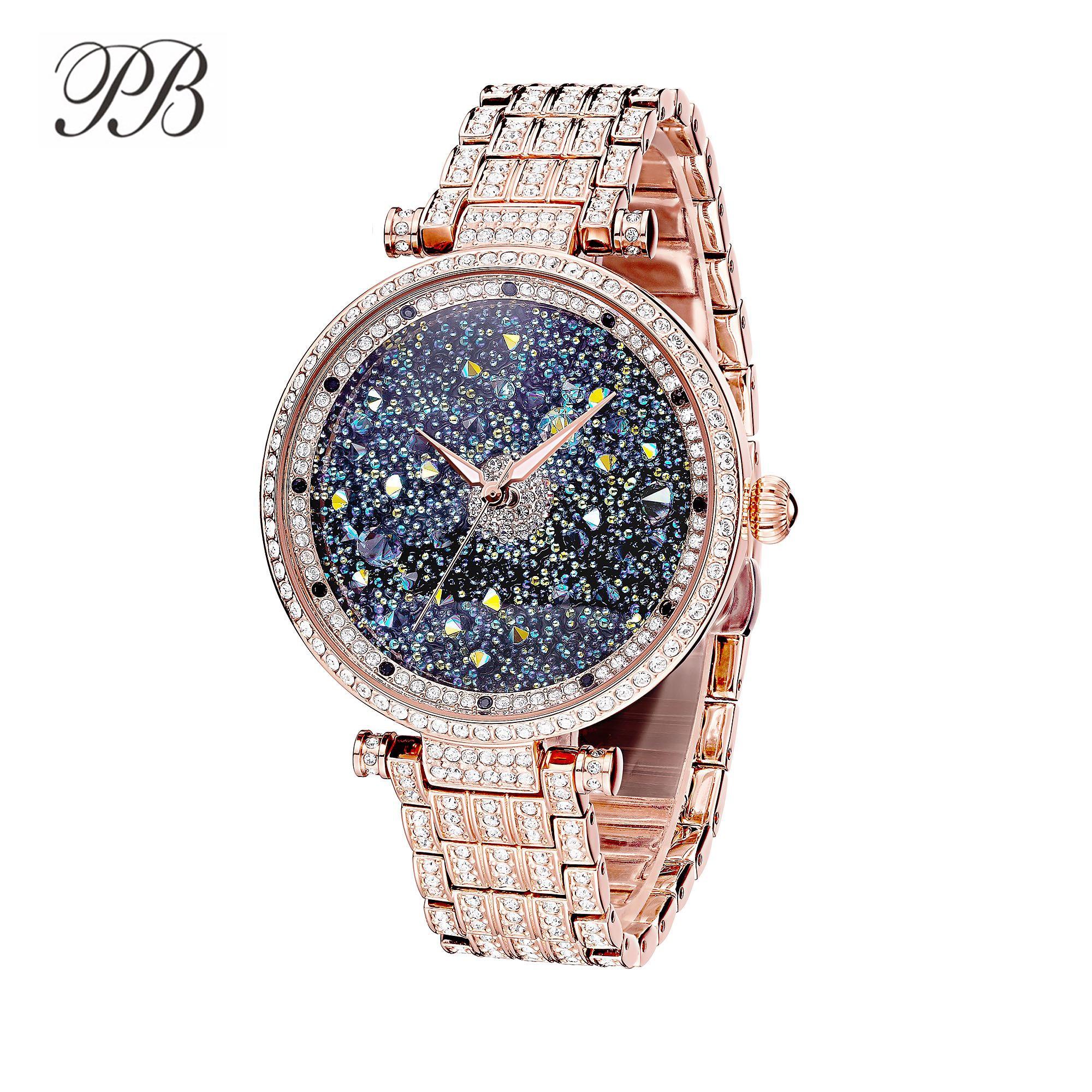 Princess Butterfly Brand Luxury Starry Sky Women Watches Rhinestone Crystal Waterproof Quartz Silver&Rose Gold Watch Women