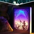 Новинка  ночной Светильник Totoro  резьба по бумаге  атмосферная лампа  3D резьба по бумаге  художественная декоративная лампа  питание от USB для ...