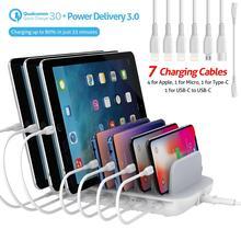 SooPii 60W 7 Port USB şarj İstasyonu birden fazla cihaz için, hızlı şarj QC 3.0 ve güç teslimatı 3.0 7 kablolar dahil