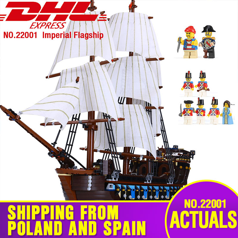 DHL 22001 Pirate Ship warships Model Building Kits Block Briks Toys 1717pcs Compatible With 10210 Children Gift Toys Model-in Blocks from Toys & Hobbies    1