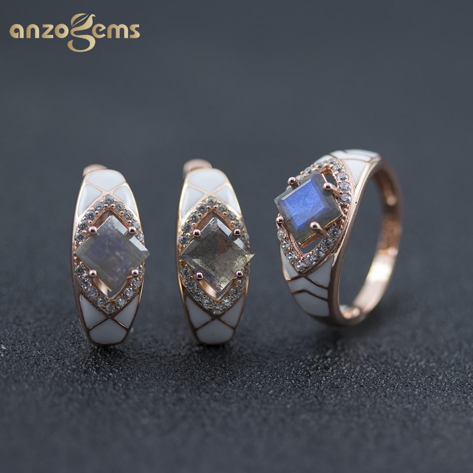 Anzogems natural labradorite jewelry sets real 925 sterling silver enamel earrings ring gemstone jewelry for women's gift 2020