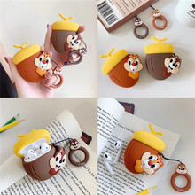 For Apple AirPods Case 3D Cute Cartoon Chip Dale Squirrel Chipmunk Pine Nuts Wireless Earphone Headset Cover for Airpods 2 Shell