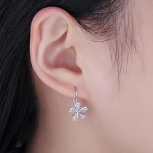 Sterling Silver CZ Daisy Flower Dangle Earrings Jewelry