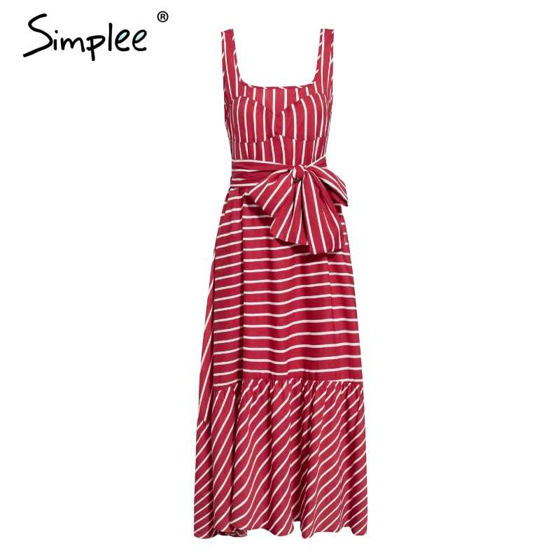 Simplee Vintage female striped dress Summer red sleeveless sashes plus size beach dress Holiday long maxi dress for women 2019
