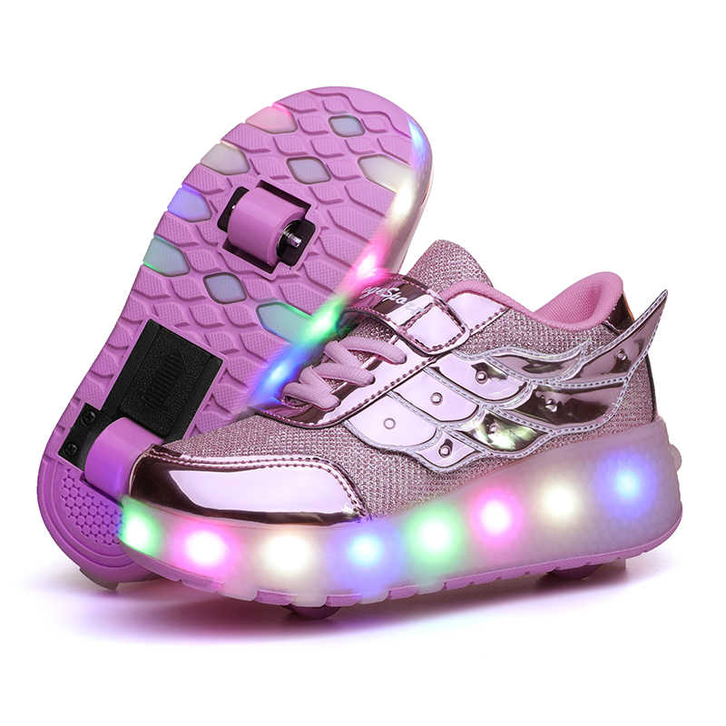 Children One Two Wheels Luminous Glowing Sneakers Led Shoes Light Roller Skate Shoes Kids Boys Girls USB Charging led shoes