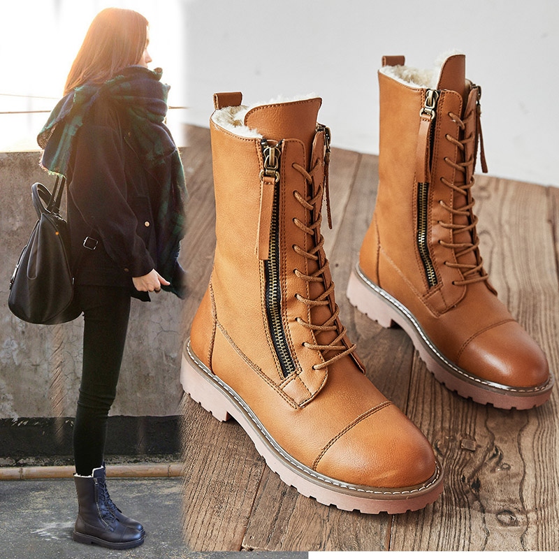 US $32.17 45% OFF|SWYIVY Split Leather Boots Women