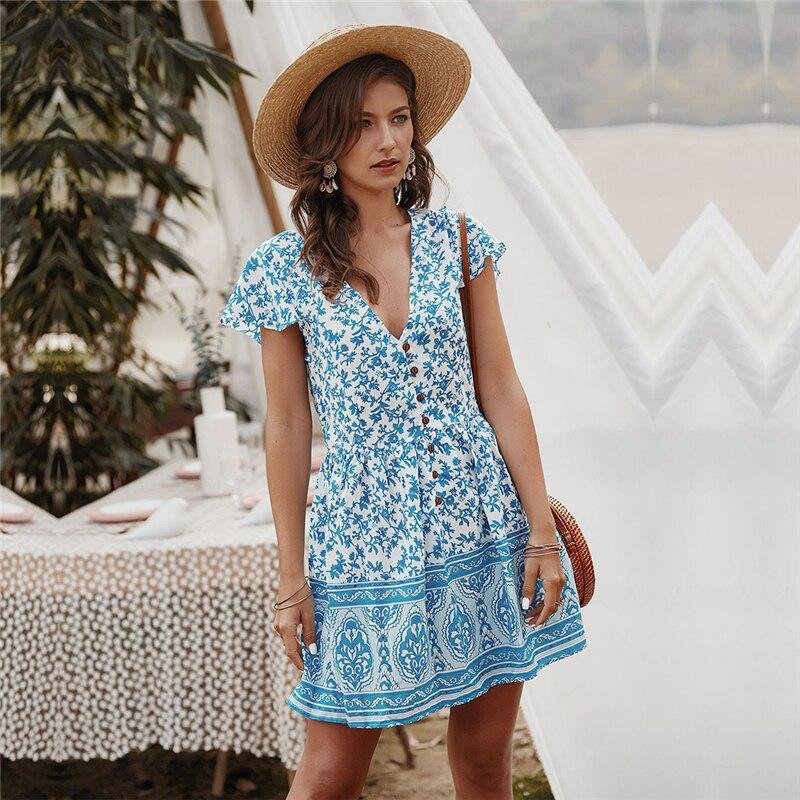 New Women Summer Beach Blue Polka Dot Printed Elasticated waist Dress