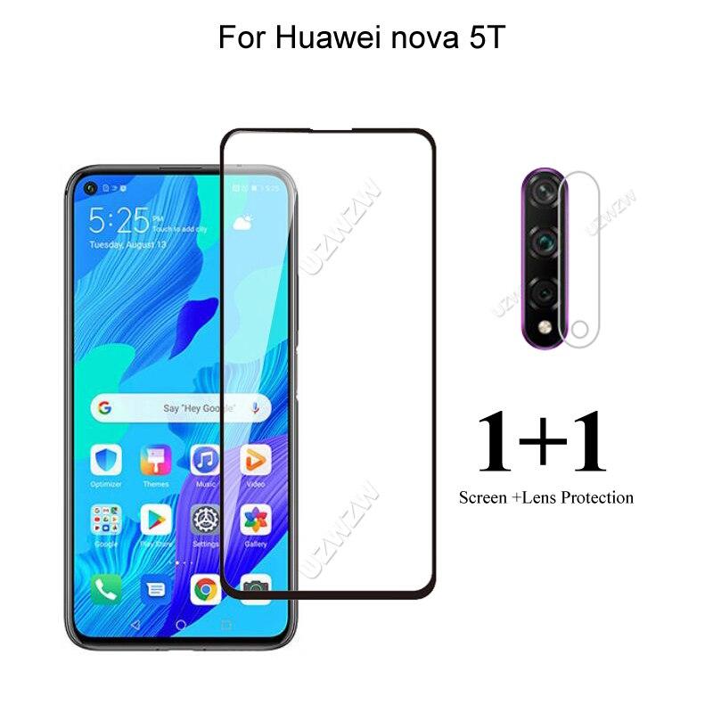 Für Huawei Nova 5T Frontscheibe Protector Schutz Gehärtetem Glas & Kamera Objektiv Film
