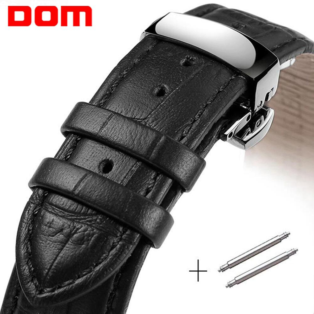 DOM Genuine Leather Watchband With Butterfly Clasp Bands Waterproof Bracelet For Men Women Watch Sized In 18mm 20mm 22mm