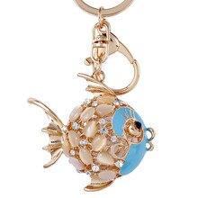 Crystal Rhinestone Fish Keychain Pretty Cute Marine Animal Goldfish Keyring Women Bag Hanging Pendant Charms Key Chain