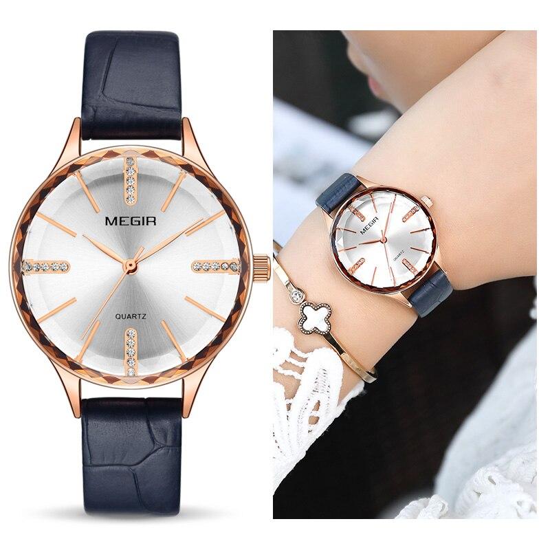 MEGIR Luxury Women Watches Reloj Mujer Blue Leather Ladies Quartz Watch Women Wristwatches Clock Relogio Feminino Dropshipping