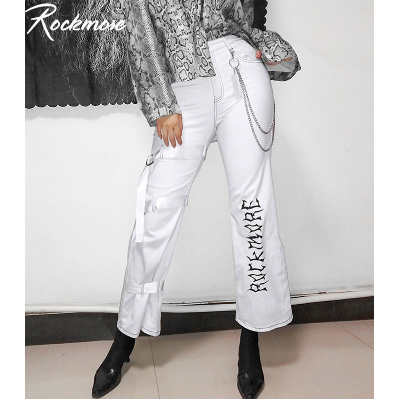 Rockmore   Wide     Leg     Pants   Women Letter Printed Korean Harajuku High Waist Trousers Hip Pop Long   Pant   Plus Size Femme Fall Winter